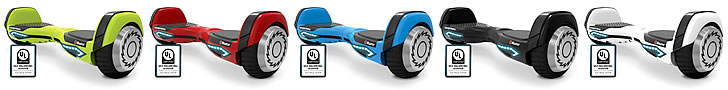 Several color choices are available for the Hovertrax 2.0: green, blue, red, black, and white.