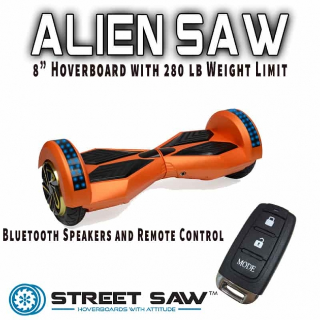 Aliensaw from Streetsaw 8 inch hoverboard that can support 280 lbs. rider