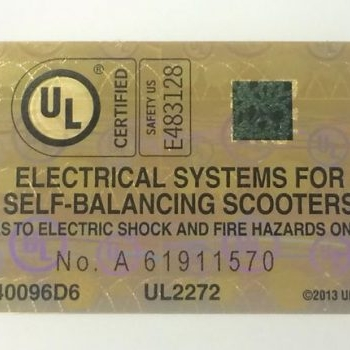 This is the label for devices that have passed UL2272 electrical systems for self-balancing scooters safety standard